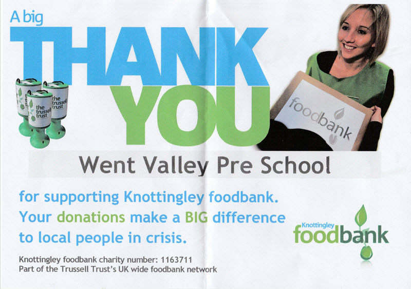 Thank You From Knottingly Food Bank